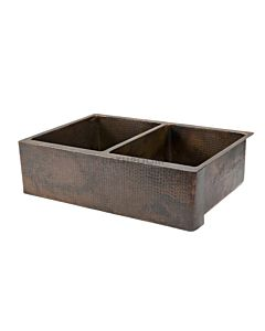CopperCo - 838mm Hammered Copper Double Bowl Kitchen Butler Sink