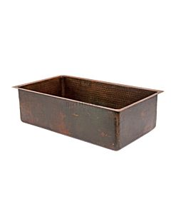 CopperCo - 762mm Hammered Copper Under Counter/Surface Mount Single Bowl Kitchen Sink