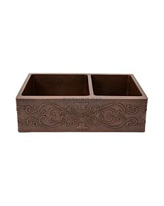 CopperCo - 838mm Hammered Copper One & a Half Bowl Kitchen Butler Sink w/ Scroll Design