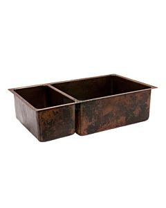 CopperCo - 838mm Hammered Copper Under Counter/Surface Mount One & One Third Bowl Kitchen Sink