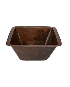 CopperCo - 381mm Square Hammered Copper Bar/Prep Sink w/ 89mm Drain Size