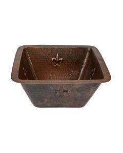 CopperCo - 381mm Square Fleur De Lis Copper Bar/Prep Sink w/ 51mm Drain Size