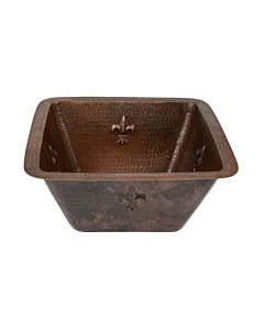CopperCo - 381mm Square Fleur De Lis Copper Bar/Prep Sink w/ 89mm Drain Size