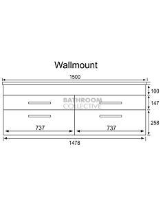 Marquis - Mariner14 1500mm Wall Mounted Vanity with Caesarstone/Silestone Top & Single Basin