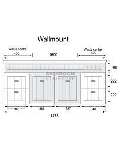 Marquis - Kiama9 1500mm Wall Mounted Vanity with Acrylic Moulded Double Basin Top