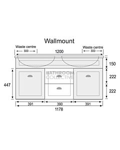 Marquis - Bowral6 1200mm Wall Mounted Vanity with Acrylic Moulded Double Basin Top