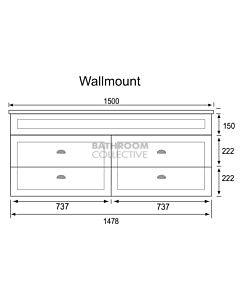 Marquis - Bowral18 1500mm Wall Mounted Vanity with Acrylic Moulded Double Basin Top