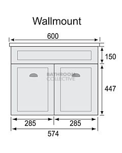 Marquis - Bowral1 600mm Wall Mounted Vanity with Acrylic Moulded Single Basin Top