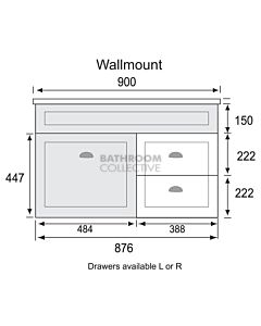 Marquis - Bowral3 900mm Wall Mounted Vanity with Acrylic Moulded Single Basin Top