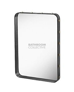 Gubi - Adnet Black Leather Rectangulaire Wall Mirror 78cm x 48cm with Rivets