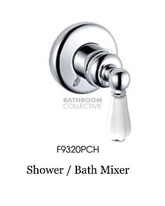 Bastow Tapware - Federation Shower Wall Mixer with Porcelain Handle CHROME