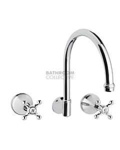 Bastow Tapware - Georgian Wall Mounted Sink Tap Set with Porcelain Lever Handles CHROME