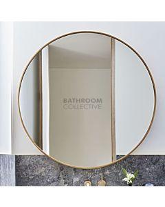 Bespoke - 800mm Round Raw Brushed Brass Framed Mirror