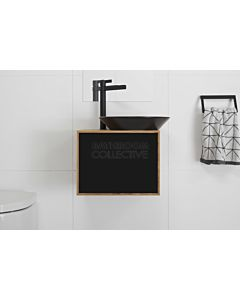 ADP - Bamboo Serena Wall Hung Vanity, Black Ceramic Basin 500mm
