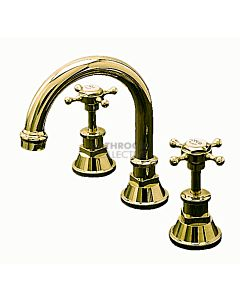 Bastow Tapware - Victorian Basin Tap Set, Cross Handles BRASS GOLD