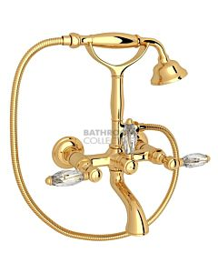 Nicolazzi - 1401 Wall Mounted Bath Tub Classic Style Filler, Cradle Hand Shower in Gold with Crystal Lever Handles