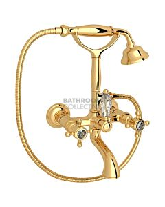 Nicolazzi - 1401 Wall Mounted Bath Tub Classic Style Filler, Cradle Hand Shower in Gold with Crystal Half Dome Handles