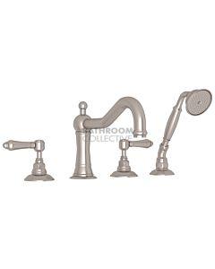 Nicolazzi - 1449 Deck Mounted Bath Tub Mixer Tap & Hand Shower in Brushed Nickel with El Capitan Handles