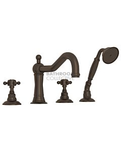 Nicolazzi - 1449 Deck Mounted Bath Tub Mixer Tap & Hand Shower in Tuscan Brass with Crystal Half Dome Handles