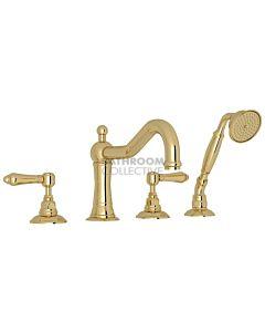 Nicolazzi - 1449 Deck Mounted Bath Tub Mixer Tap & Hand Shower in Raw Brass with El Capitan Handles