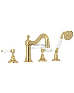 Nicolazzi - 1449 Deck Mounted Bath Tub Mixer Tap & Hand Shower in Raw Brass with Petite Mont Blanc Handles