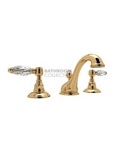 Nicolazzi - 1408 Wash Basin Tap Set with Swan Neck Spout and Pop Up Waste in Gold with Crystal Lever Handles