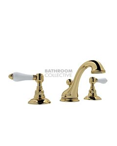 Nicolazzi - 1408 Wash Basin Tap Set with Swan Neck Spout and Pop Up Waste in Raw Brass with Petite Mont Blanc Handles