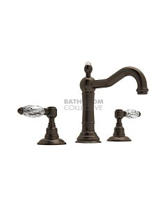 Nicolazzi - 1409 Wash Basin Tap Set with Traditional Spout and Pop Up Waste in Tuscan Brass with Crystal Lever Handles
