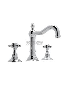 Nicolazzi - 1409 Wash Basin Tap Set with Traditional Spout and Pop Up Waste in Chrome with Crystal Half Dome Handles
