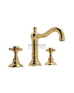 Nicolazzi - 1409 Wash Basin Tap Set with Traditional Spout and Pop Up Waste in Gold with Half Dome Handles