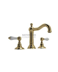 Nicolazzi - 1409 Wash Basin Tap Set with Traditional Spout and Pop Up Waste in Raw Brass with Petite Mont Blanc Handles