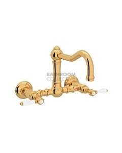 Nicolazzi - 1457 Wall Mounted Exposed Kitchen Tap Sink Mixer with Traditional Swivel Spout in Gold with El Capitan Lever Handles