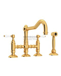 Nicolazzi - 1458WS Exposed Kitchen Tap Sink Mixer with Traditional Swivel Spout & Handspray in Gold with Petite Mont Blanc Lever Handles