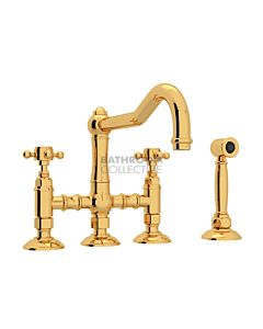 Nicolazzi - 1458WS Exposed Kitchen Tap Sink Mixer with Traditional Swivel Spout & Handspray in Gold with Half Dome Handles