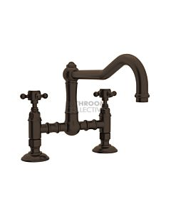 Nicolazzi - 1459 Exposed Kitchen Tap Sink Mixer with Traditional Swivel Spout in Tuscan Brass with Half Dome Handles