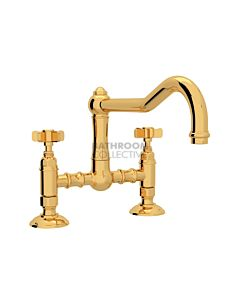 Nicolazzi - 1459 Exposed Kitchen Tap Sink Mixer with Traditional Swivel Spout in Gold with Dame Anglaises Handles