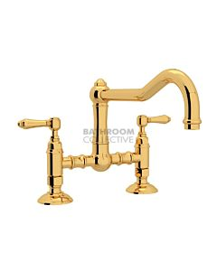 Nicolazzi - 1459 Exposed Kitchen Tap Sink Mixer with Traditional Swivel Spout in Gold with El Capitan Lever Handles