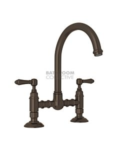 Nicolazzi - 1460 Exposed Kitchen Tap Sink Mixer with Gooseneck Swivel Spout in Tuscan Brass with El Capitan Lever Handles