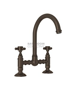 Nicolazzi - 1460 Exposed Kitchen Tap Sink Mixer with Gooseneck Swivel Spout in Tuscan Brass with Half Dome Handles
