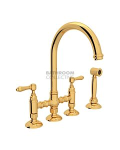 Nicolazzi - 1460WS Exposed Kitchen Tap Sink Mixer with Gooseneck Swivel Spout & Handspray in Gold with El Capitan Lever Handles