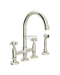 Nicolazzi - 1460WS Exposed Kitchen Tap Sink Mixer with Gooseneck Swivel Spout & Handspray in Polished Nickel with Half Dome Handles
