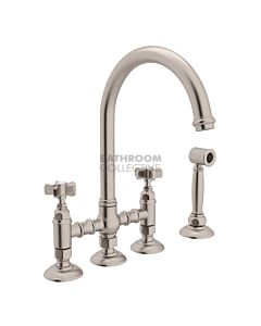 Nicolazzi - 1460WS Exposed Kitchen Tap Sink Mixer with Gooseneck Swivel Spout & Handspray in Brushed Nickel with Dame Anglaises Handles