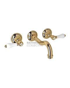 Nicolazzi - 1477 Wall Mounted Basin Tap Set, 185mm Spout in Gold with Petite Mont Blanc Handles