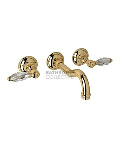 Nicolazzi - 1477 Wall Mounted Basin Tap Set, 185mm Spout in Gold with Crystal Lever Handles
