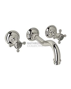 Nicolazzi - 1477 Wall Mounted Basin Tap Set, 185mm Spout in Polished Nickel with Crystal Half Dome Handles