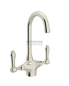 Nicolazzi - 2606 Kitchen Twinner Tap Sink Mixer with Gooseneck Swivel Spout in Polished Nickel with El Capitan Lever Handles