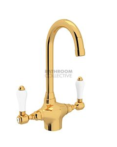 Nicolazzi - 2606 Kitchen Twinner Tap Sink Mixer with Gooseneck Swivel Spout in Gold with Petite Mont Blanc Lever Handles