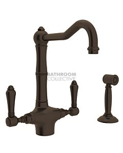 Nicolazzi - 1406WS Kitchen Twinner Tap Sink Mixer with Traditional Swivel Spout & Handspray in Gold Brass with Tuscan Brass Lever Handles