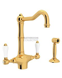 Nicolazzi - 1406WS Kitchen Twinner Tap Sink Mixer with Traditional Swivel Spout & Handspray in Gold with Petite Mont Blanc Lever Handles