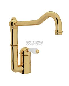Nicolazzi - 3407 Kitchen Sink Mixer with Off-set Traditional Swivel Spout in Gold with Petite Mont Blanc Handles